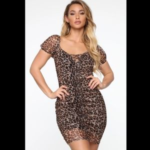 Leopard ruched mini dress